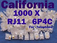 1000 X Rj11 Plug 6p4c Phone Modular Cord Connector Adapter Crimp Cat Rj-11 Cat3