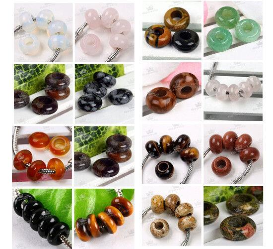 Agate Opal Various Gemstone Big Hole Charm European Beads DIY Fit Chain Bracelet