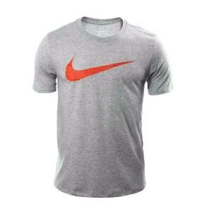 6ab20255d7444 Nike Mens Dri Fit Swoosh Grey Training T-Shirt New Medium Athletic ...
