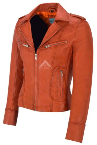 RIDER Ladies Leather Jacket Orange Biker Motorcycle Style Soft Real Napa 9823