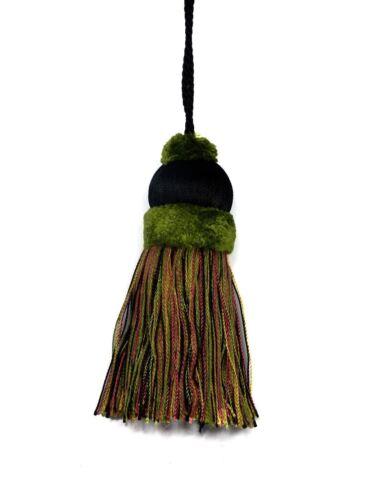 Nantucket Trimming Fairville Collection BLACK MOSS GREEN Dusty Rose Key Tassel