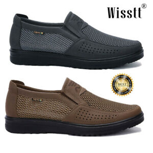 Men-039-s-Leather-Casual-Shoes-Formal-Business-Breathable-Mesh-Slip-on-Loafers-Flats