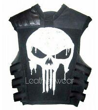 Punisher War Thomas Jane Tactical Black Leather Vest Costume