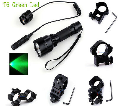 Tactical T6 300LM Green LED Hunting Flashlight+Pressure Switch+Torch Mount^