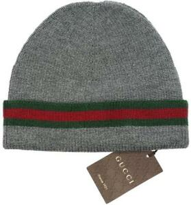 NEW GUCCI KNIT WOOL SILK WEB DETAIL BEANIE HAT 100% AUTHENTIC 58 ... 45238abfcd7b