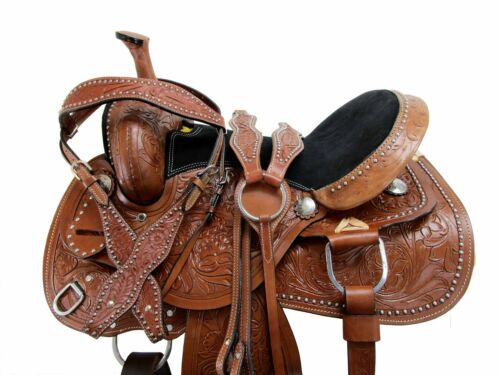 Details about  /BROWN LEATHER WESTERN HORSE SADDLE PLEASURE TRAIL BARREL RACING TACK 18 17 16 15