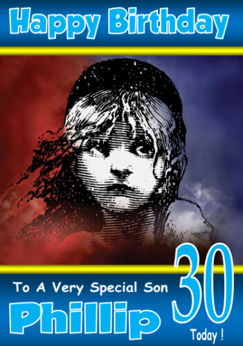 LES MISERABLES The Musical Personalised Birthday Card 1 ANY NAME ETC