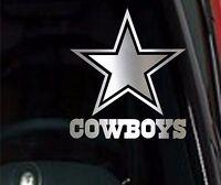 2 (PAIR) Dallas Cowboys Star Chrome Vinyl Car Truck DECAL Window STICKER Silver