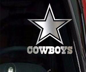 2-UNITS-Dallas-Cowboys-Star-Chrome-Vinyl-Car-Truck-DECAL-Window-STICKER-Silver