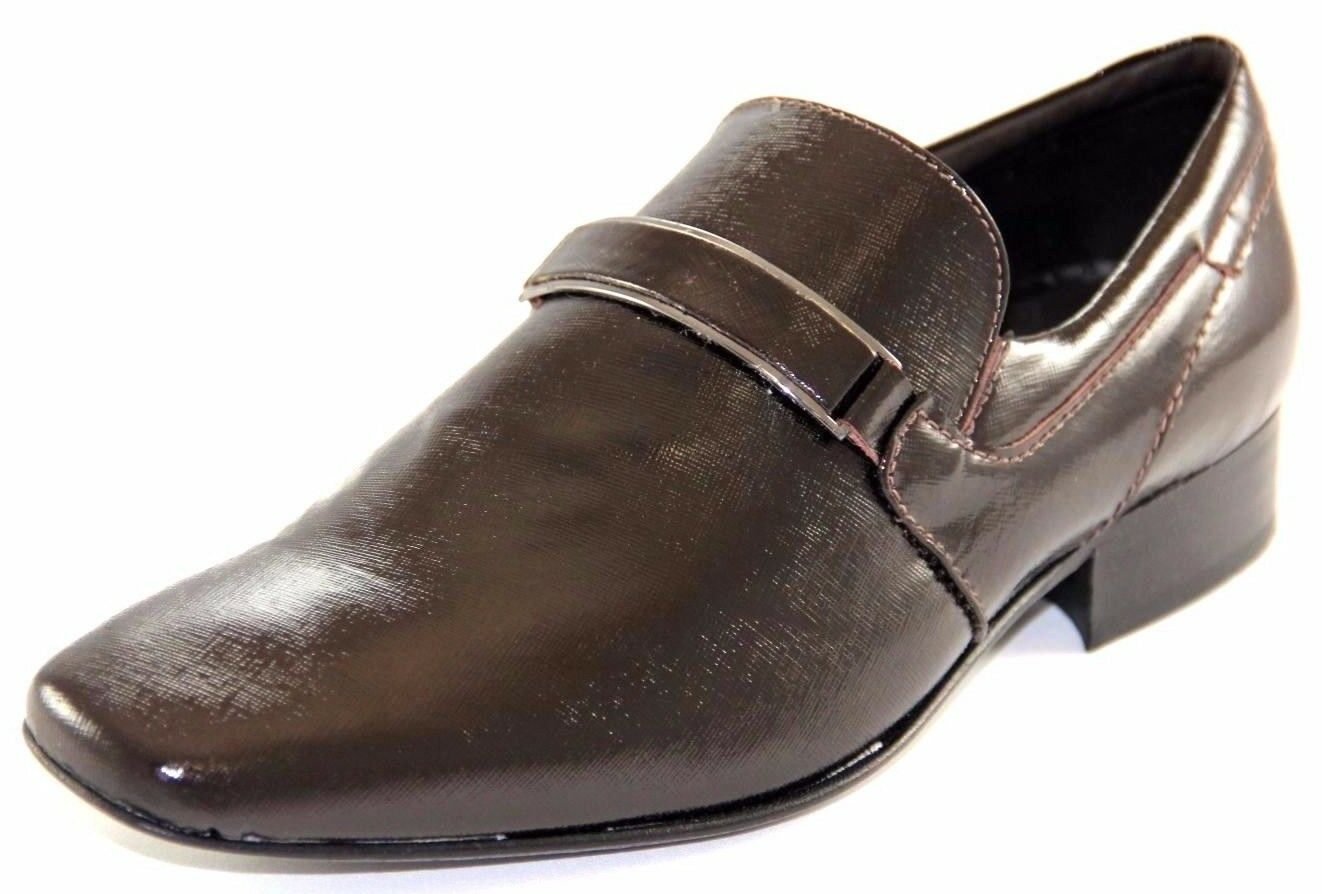 SARRETI Men's Shine Leather Chocolate Made In Brazil Dress shoes Style