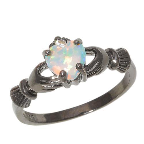 Nouvelle vente Blanc Opale Bleue Zircon Noir Plaqué Or Femme Bijoux Ring Taille 8 OJ9392-3