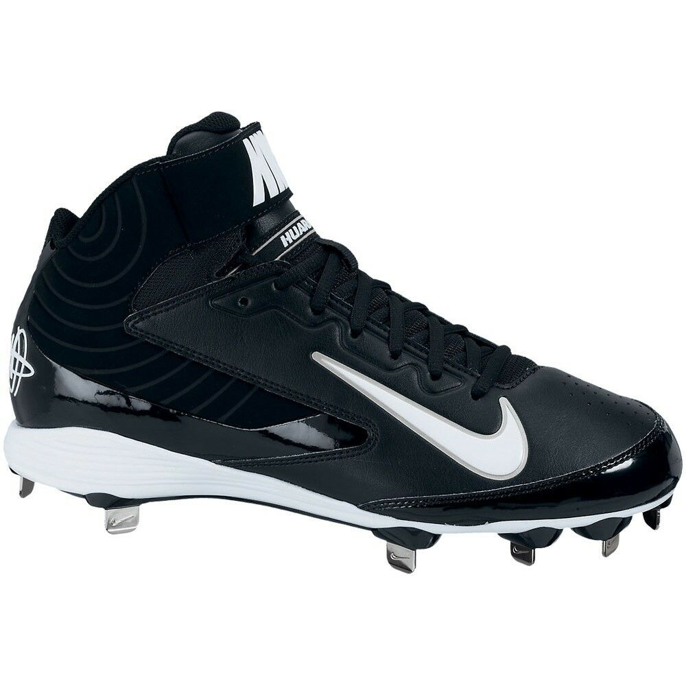 Nike Huarache Strike Mid Metal Black Baseball Cleats / Shoe Men SIZE 9 and 12 US