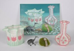 Original-Crappy-Magic-Still-Life-Painting-w-Yarn-Vessels-Vintage-Watch-amp-more