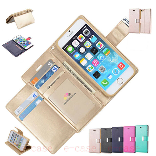 Luxury Magnetic Flip Fold PU Leather Card Wallet Stand Case Cover For Cell Phone