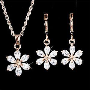 Gold-Plated-Jewelry-Set-Rhinestone-Flower-Pendant-Necklace-Earrings-Jewelry-F-2Y