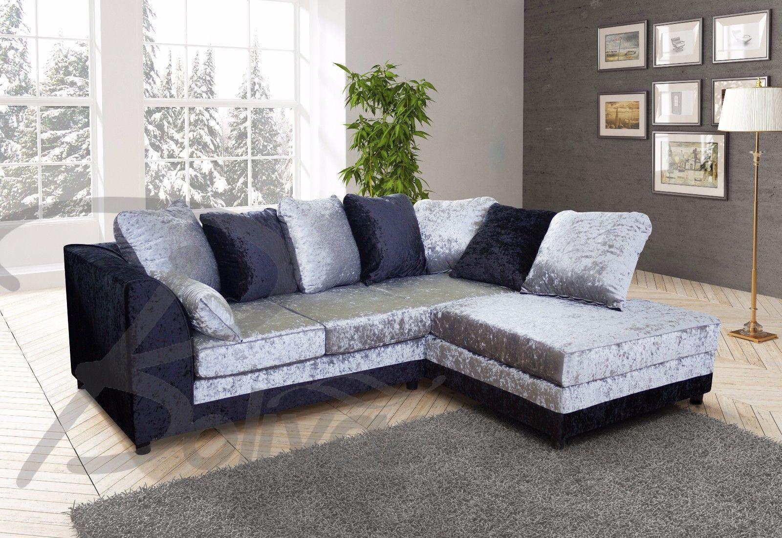 New Byron Corner Sofa Settee Grey Black Or Beige Brown Right Left Side