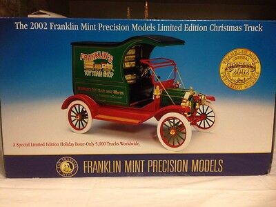 1/16 Franklin Mint Green 1913 Model T Delivery Truck 2002 Christmas Truck  LE