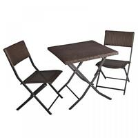 FDW 3-Piece Outdoor Table And Chairs Patio Deck Wicker Set