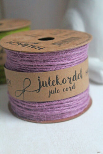 0,11€//m 50m Spule Jutekordel Flachs 2mm rosa lila 125 Flachsschnur Shabby Jute