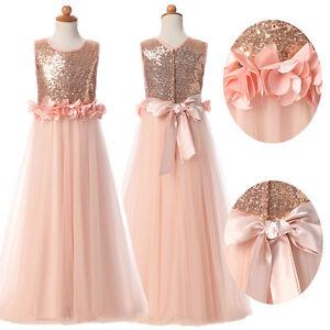 c57d5e140cae Rose Gold Sequin Princess Dress Flower Girls Pageant Party Dress ...