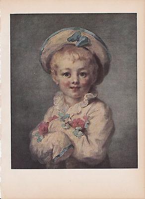 "1939 Vintage ""THE FAIR HAIRED BOY"" FRAGONARD A LOVELY Color Art Plate Lithograph"