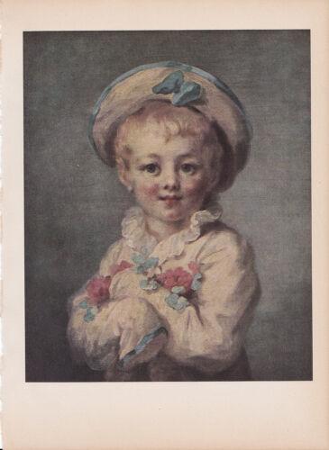 "1939 Vintage /""THE FAIR HAIRED BOY/"" FRAGONARD A LOVELY Color Art Plate Lithograph"