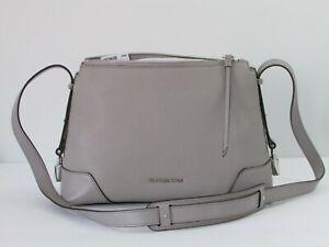 Details about NEW Michael Kors Crosby Medium Grey Leather Messenger Crossbody Shoulder Bag
