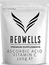 REDWELLS 100g Pure Ascorbic Acid Powder (Vitamin C) Pharmaceutical Quality