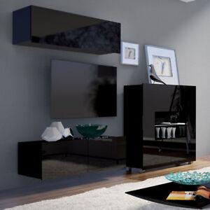 Details zu Wohnwand Laurenz IX Elegant Schrankwand Hochglanz Wohnzimmer  LED- Beleuchtung