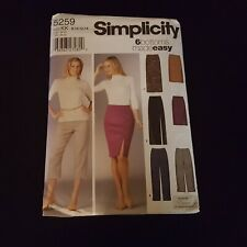 Simplicity 5259 Misses/' Pants and Skirts 16 to 22  Sewing Pattern