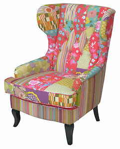 "sessel bunt, ohrenbackensessel hocker ""patchwork-design"" sessel sitzhocker, Design ideen"