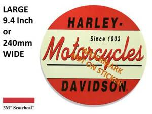 VINTAGE LOOK  HARLEY DAVIDSON STICKER DECAL LARGE 240 mm DIA