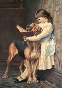 Oil-painting-Charles-Burton-Barber-Compulsory-Education-young-girl-with-dog