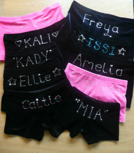 MADE IN ENGLAND! PERSONALISED GYMNASTICS LEOTARD DANCE SHORTS all colours velvet