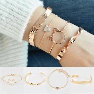 4Pcs-Set-Ladies-Gold-Triangle-Knot-Cat-Opening-Bangle-Cuff-Chain-Bracelets