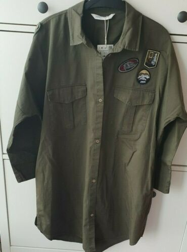 19 Style Long S Military Khaki Aw18 Jacket Zara Patch Green 10 8 Overshirt Size IwqTXPPzF