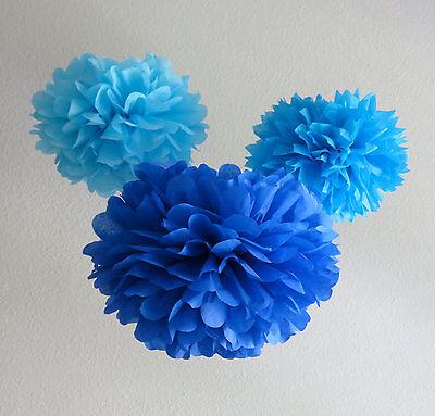 """15pcs 8"""" Mix blue paper poms baby shower wedding event party decoration"""