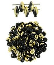 10g Jet Brass 1/2 SuperDuo 2 Hole Czech Glass Seed Beads 2x5mm