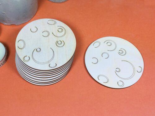 x 10 Lune gravé en bois avec des formes de cratères 8 cm BOIS forme crafts blanks