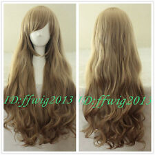New wig Cosplay Aisaka Taiga /Junior League Pale Brown Curly Long wig +a wig cap