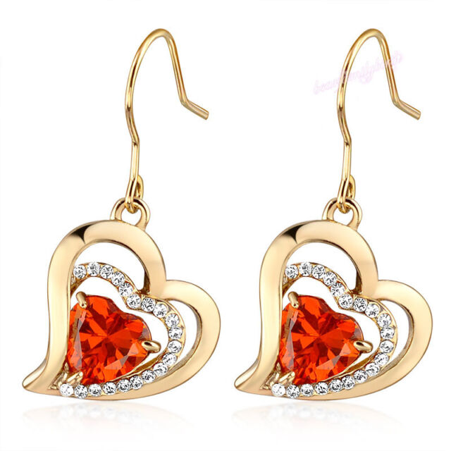 Red Love Heart Drop Dangling Earrings 18K Yellow Gold Plated Jewelry Gift E669