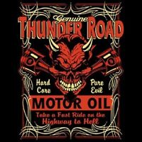 HOT ROD RACING T SHIRT THUNDER ROAD MOTOR OIL BIKER RIDER SKULL T SHIRT SPEED
