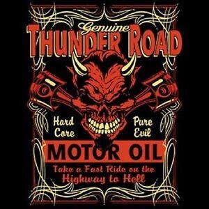 HOT-ROD-RACING-T-SHIRT-THUNDER-ROAD-MOTOR-OIL-BIKER-RIDER-SKULL-T-SHIRT-SPEED