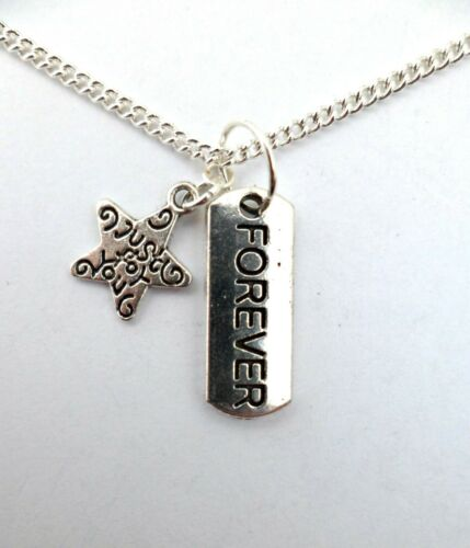 Bag 925 STERLING SILVER NECKLACE MESSAGE Charm Just For You Pendant Gift