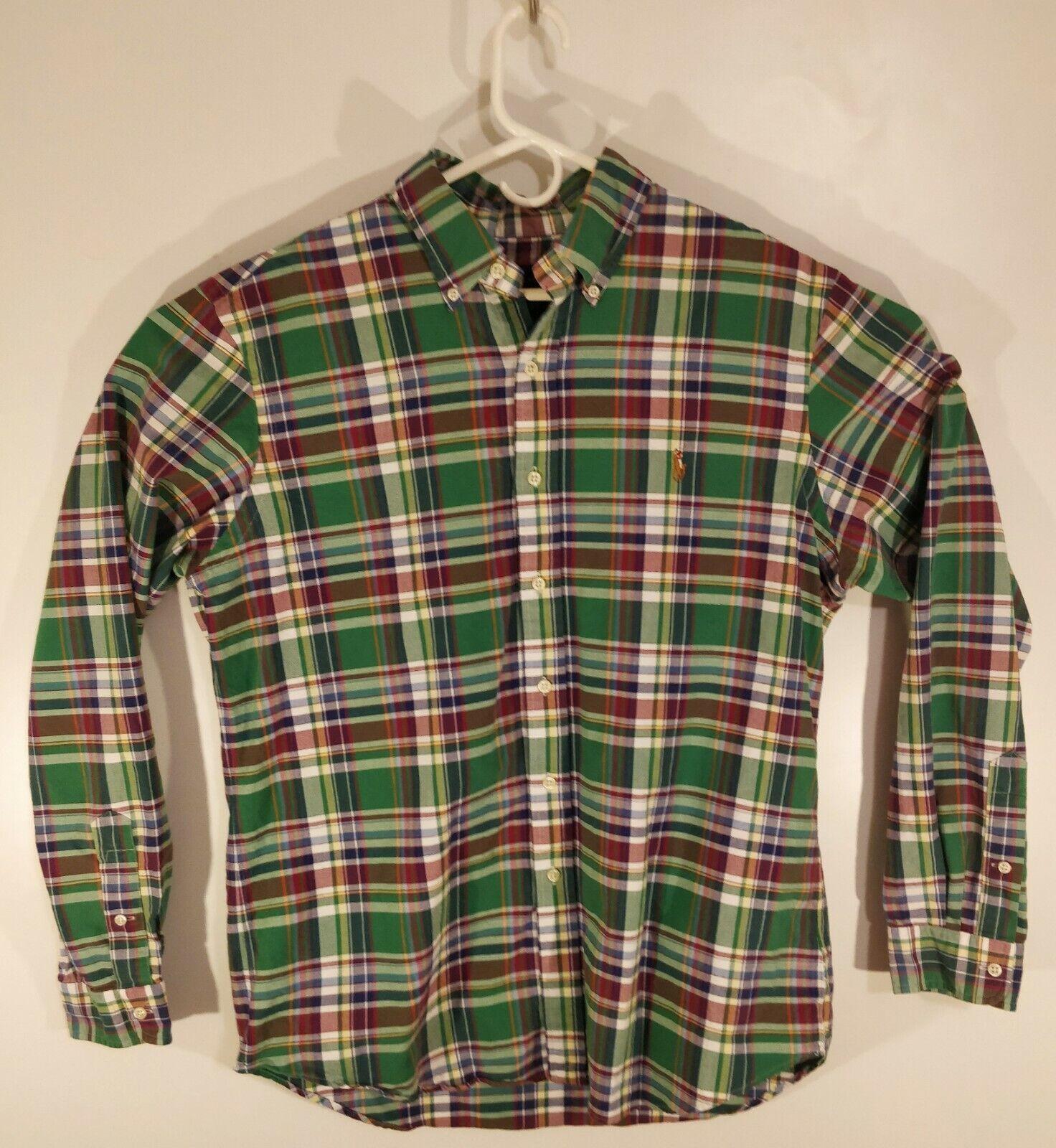 Ralph Lauren bluee Label Men's Large L S Multicolord Plaid Button Down Shirt