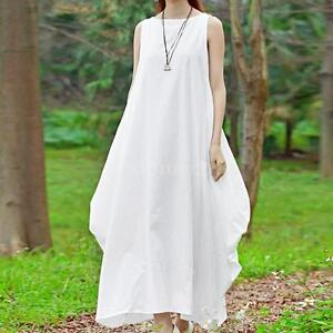 2d72d3e268c Image is loading Plus-Size-Womens-Summer-Casual-Loose-Dress-Sleeveless-