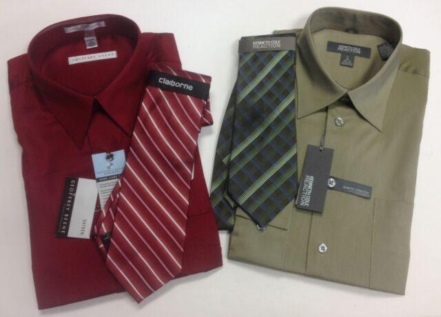 $87 GEOFFREY BEENE Men CLASSIC FIT GRAY TEXTURED CASUAL DRESS SHIRT 16 32//33 L