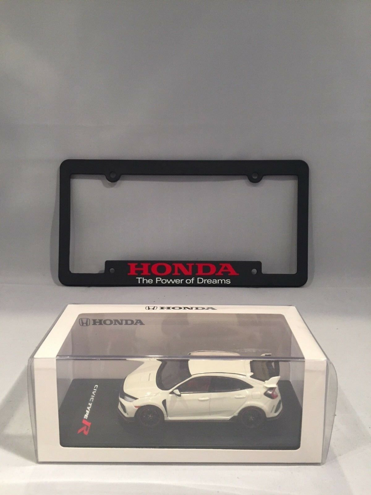 Honda Civic Type-R 1 43 Diecast With Power Of Dreams License Plate Frame Combo