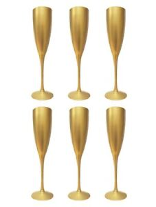 6-Champagne-Wine-Flute-Glass-Flutes-Glasses-Gold-Reusable-Xmas-Gift-Party-Dinner