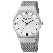 New Men's Akribos XXIV AK851SS Classic Silver-tone Dial Mesh Bracelet Watch